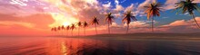 Palm Trees On The Beach In A Row At Sunset, Tropical Beach With Palm Trees, Dramatic Sunset Over The Sea ,, 3D Rendering