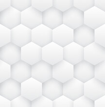 3D Hexagons Modern Technology Science White Abstract Seamless Pattern