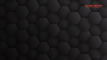 3D Hexagons Pattern Minimalistic Dark Gray Technology Abstract Background