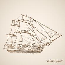 Ship, Boat, Sail, Sailing, Sea, Sailboat, Mast, Old, Vessel, Ocean, Travel, Yacht, Water, Tall, Nautical, Pirate, Transportation, Sky, Rigging, Wood, Marine, Blue, Transport, Vintage, Model