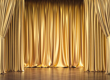Gold Curtains And Wooden Floor.