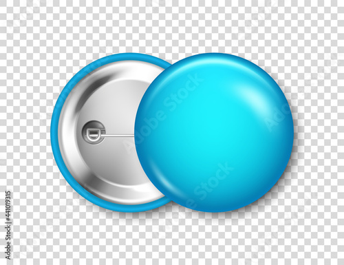 Obraz na plátně Realistic blue blank badge isolated on transparent background