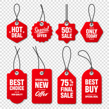 Realistic Red Price Tags Collection. Special Offer Or Shopping Discount Label. Retail Paper Sticker. Promotional Sale Badge With Text. Vector Illustration.