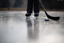 Skating Boy On Frozen Pond
