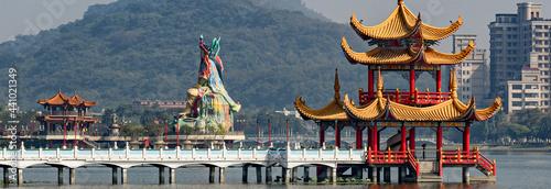 Wallpaper Mural Dragon and Tiger pagoda