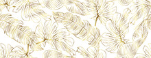 Luxury Seamless Gold Nature Background Vector. Floral Pattern, Golden Split-leaf With Monstera Plant Line Arts, Vector Illustration.