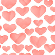 Vector Seamless Pattern With Watercolor Pink Hearts On White Background. Illustration With Hand Drawn Effect.