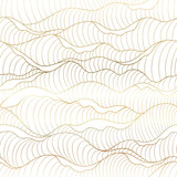 Background gold ocean wave pattern. Liquid sea wave graphic seamless vector on white background. Water abstract luxury gold line arts wallpaper