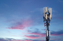 Cellular Station. Communication. Wireless Connection. Mobile Cellular Communication And Wireless Internet On A Support Among Wires In An Urban Environment
