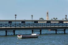 Paisaje De Huelva Con Puente Y Estatua De Cristóbal Colón.