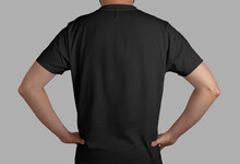 Isolated Black T-shirt Back View