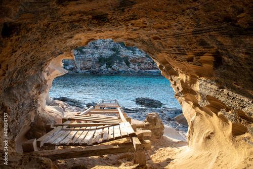 Fotografija Beautiful Cala en Baster on the island of Formentera in the Balearic Islands in