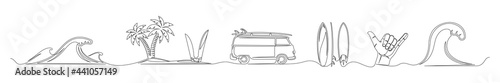 Photo Set of continuous one line drawing of a surfing theme