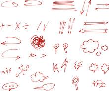 손 그림 낙서 일러스트 빨간 펜 채크