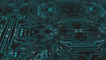 Circuit Board Computer Animation With Lines