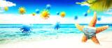 Fototapeta Dmuchawce - Starfish with corona virus masks on vacation