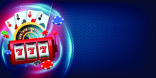 Vegas Casino Games Background. Concept Vegas Games Banner Illustration With Right Side Copy Space.
