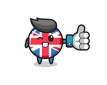 Cute United Kingdom Flag Badge With Social Media Thumbs Up Symbol