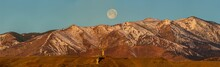 """Panorama Of Full """"Worm"""" Moon Setting Over The NOAA Table Mountain Test Facility Antennas And The Colorado Front Range"""