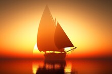 A Boat Sailing On Sunset