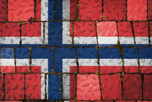 National Flag Of Norway On Stone  Wall Background. Flag  Banner On  Stone Texture Background.