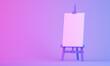 Leinwandbild Motiv 3d easel rendering on colorful background
