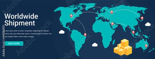Fotografie, Obraz Worldwide shipment vector illustration banner concept in flat style