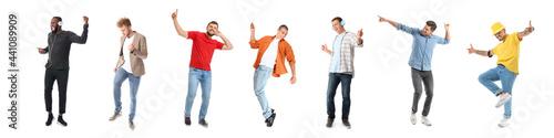 Handsome men dancing against white background Fototapete