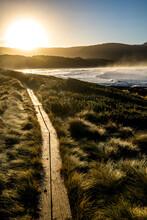 Walking Path Beside The Beach At Sunrise