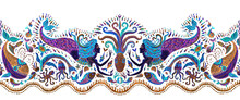 Seamless Border Pattern Of Dark Purple And Turquoise Fairy Tale Sea Animals And Mermaid. Watercolor Painted Fantasy Fish, Octopus, Coral, Sea Shells, Air Bubbles On A White Background. Batik Fringe