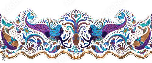 Foto Seamless border pattern of dark purple and turquoise fairy tale sea animals and mermaid