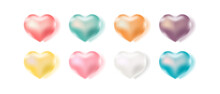 Set Of Color Love Heart Design Vector. Valentine's Day Candy Sweet Heart