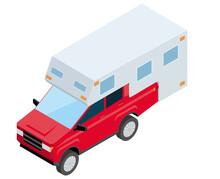 SUVs, Pickup Truck Campers. Isometrics Car Illustration 3D Solid