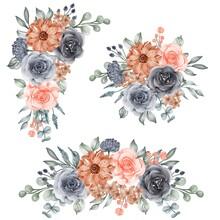 Watercolor Set Of Flower Arrangement Navy And Peach Orange