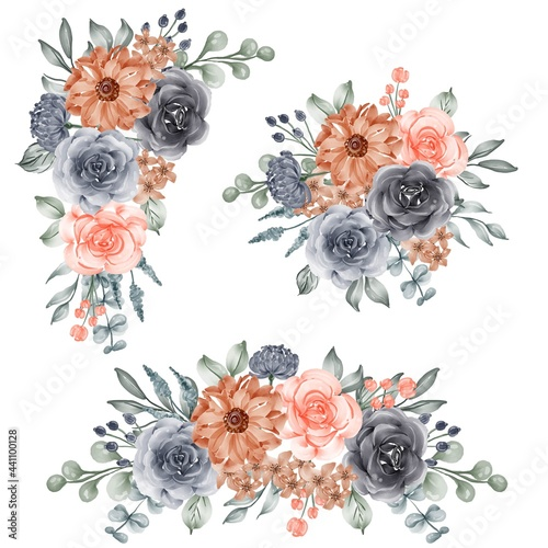 Fototapeta watercolor set of flower arrangement navy and peach orange