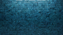 Blue Patina Tiles Arranged To Create A Square Wall. 3D, Textured Background Formed From Glazed Blocks. 3D Render