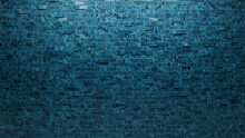 3D Tiles Arranged To Create A Textured Wall. Rectangular, Glazed Background Formed From Blue Patina Blocks. 3D Render