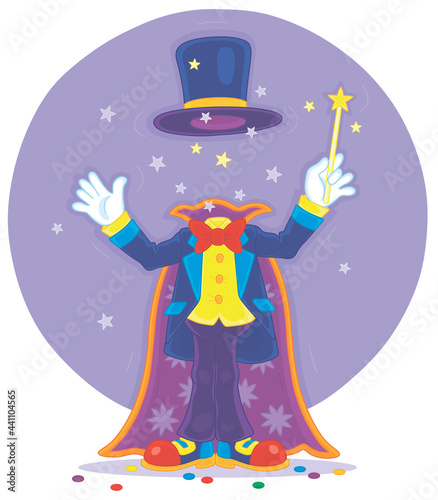 Fotografie, Obraz Artful circus magician illusionist with his magic wand, cloak and hat, conjuring