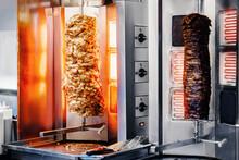 Fresh Turkish Shawarma Kebab, Meat Cooked On An Electric Skewer.