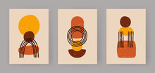 Abstract Trio Of Geometric Boho Figures. Minimalistic Balls And Sketch An Arch. Fashionable Primitivism In Terracotta And Yellow Style. Vintage Sculptures On Shabby Posters. Vector Flat Template