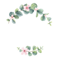 Watercolor Vector Wreath With Eucalyptus Branches And Pink Flowers.
