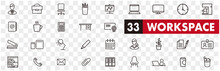 Working Place Icons Of Freelance Line Vector Set