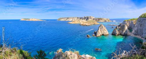 Tela Seascape of Tremiti archipelago with Pagliai cliffs in San Domino island, Cretaccio ,San Nicola Capraia  islands in background