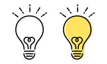 ひらめき電球アイコンのベクターイラスト(アイディア,シンボル,電球.発見)