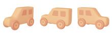乗り物のイラスト素材 素朴な玩具の自動車 (A_1_2~4 三点セット) 木目カラー
