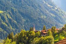 The Village Of Trun In The Alps Of Graubunden In Switzerland