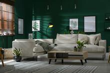 Modern Living Room Interior With Stylish Comfortable Sofa