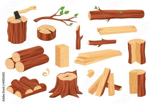 Slika na platnu Cartoon wood log and trunk