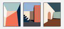 Minimalist Architecture Poster Series. Vector Illustration.