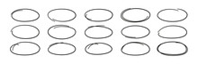 Hand Drawn Ovals. Highlight Circle Frames. Ellipses In Doodle Style. Set Of Vector Illustration Isolated On White Background.